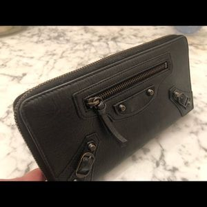 Balenciaga Classic Gold Continental Leather Wallet